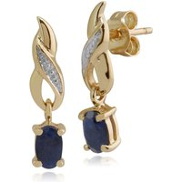 Art Nouveau Oval Sapphire and Diamond Drop Earrings in 9ct Yellow Gold
