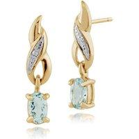 Classic Oval Aquamarine & Diamond Drop Earrings in 9ct Yellow Gold