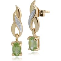Classic Oval Peridot and Diamond Twist Drop Earrings in 9ct Yellow Gold