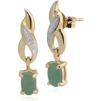Classic Oval Jade and Diamond Twist Drop Earrings in 9ct Yellow Gold