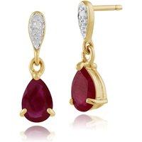 Classic Pear Ruby & Diamond Drop Earrings in 9ct Yellow Gold