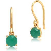 Classic Round Emerald Checkerboard Drop Earrings in 9ct