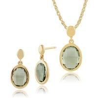 Classic Oval Mint Quartz Bezel Drop Earrings & Pendant Set in 9ct Yellow Gold