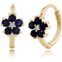 Floral Round Sapphire and Diamond Hoop Earrings in 9ct Yellow Gold