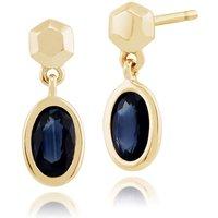 Classic Oval Sapphire Bezel Set Drop Earrings in 9ct Yellow Gold