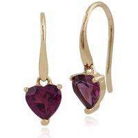 Classic Heart Rhodolite Garnet Claw Set Heart Drop Earrings in 9ct Yellow Gold