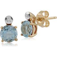 Classic Round Blue Topaz & Diamond Stud Earrings in 9ct Yellow Gold