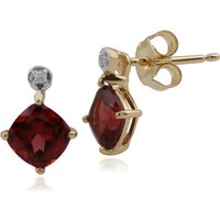 Classic Square Garnet & Diamond Stud Earrings in 9ct Yellow Gold