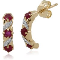 Classic Round Ruby & Diamond Half Hoop Earrings in 9ct Yellow Gold