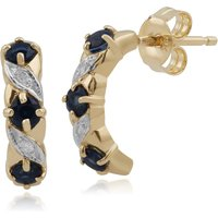 Classic Round Sapphire & Diamond Half Hoop Earrings in 9ct Yellow Gold