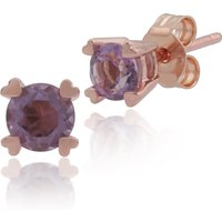 Classic Round Amethyst Heart Claw Set Stud Earrings in 9ct Rose Gold