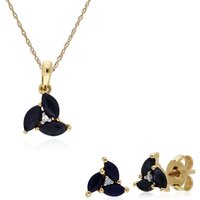 Classic Round Sapphire Marquise Cluster Stud Earrings and Necklace Set in 9ct Yellow Gold