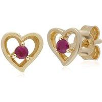 Gemondo 9ct Yellow Gold Ruby Single Stone Heart Stud Earrings