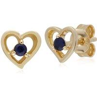 Gemondo 9ct Yellow Gold Sapphire Single Stone Heart Stud Earrings
