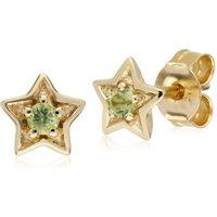 Classic Single Stone Round Peridot Star Stud Earrings in 9ct Yellow Gold