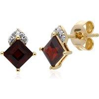 Gemondo 9ct Yellow Gold Garnet & Diamond Square Stud Earrings