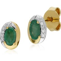 Classic Oval Emerald and Diamond Stud Earrings in Two Tone 9ct Yellow Gold