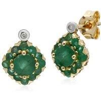Gemondo 9ct Yellow Gold Emerald & Diamond Square Cluster Stud Earrings