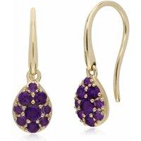 Gemondo 9ct Yellow Gold Amethyst Pear Cluster Drop Earrings