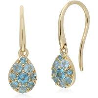 Gemondo 9ct Yellow Gold Blue Topaz Pear Cluster Drop Earrings