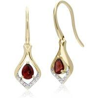 Classic Pear Garnet & Diamond Leaf Halo Drop Earrings in 9ct Yellow Gold