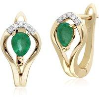Classic Emerald and Diamond Leaf Halo Lever Back Earrings
