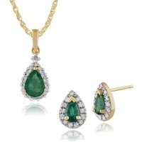 Classic Pear Emerald and Diamond Halo Stud Earrings and Pendant Set in 9ct Yellow Gold