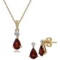 Classic Pear Garnet and Diamond Stud Earrings and Pendant Set in 9ct Yellow Gold