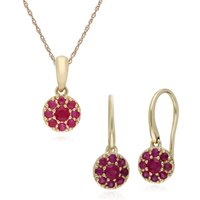 Classic Round Ruby Cluster Drop Earrings & Pendant Set in 9ct Yellow Gold