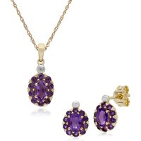 Classic Oval Amethyst and Diamond Cluster Stud Earrings and Pendant Set in 9ct Yellow Gold