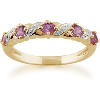 Classic Art Nouveau Style 9ct Yellow Gold Pink Sapphire and Diamond Half Eternity Ring