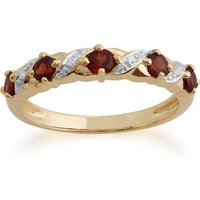 Image of Classic Round Garnet & Diamond Half Eternity Ring in 9ct Yellow Gold