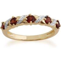 Classic Round Garnet and Diamond Half Eternity Ring in 9ct Yellow Gold