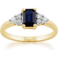 Classic Baguette Sapphire and Diamond Ring in 9ct Yellow Gold