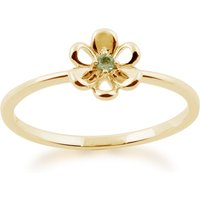 Gemondo 9ct Yellow Gold 0.02ct Peridot Stackable Floral Ring