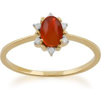 Gemondo 9ct Yellow Gold 0.33ct Fire Opal and Diamond Cluster Ring