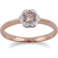 Classic Round Morganite and Diamond Floral Ring in 9ct Rose Gold