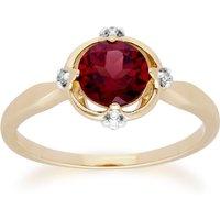 Gemondo 9ct Yellow Gold Halo Mozambique Garnet and Diamond Round Cut Ring