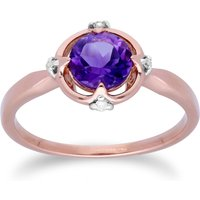Gemondo 9ct Rose Gold Halo Amethyst and Diamond Round Cut Ring