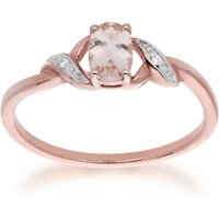 Classic Oval Morganite and Diamond Ring in 9ct Rose Gold