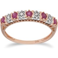 Classic Ruby and Diamond Half Eternity Ring in 9ct Rose Gold