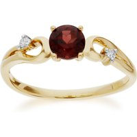 Classic  Round Garnet and Diamond Ring in 9ct Yellow Gold