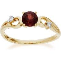 Classic Round Garnet and Diamond Ring in 9ct Yellow Gold