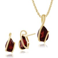 Classic Pear Garnet Wrap over Stud Earrings & Pendant Set in 9ct Yellow Gold