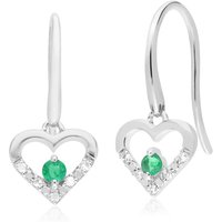 Classic Round Emerald & Diamond Love Heart Shaped Drop Earrings in 9ct White Gold