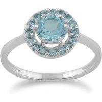 Gemondo 9ct White Gold 1.07ct Blue Topaz Halo Ring