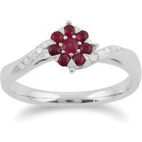 Gemondo 9ct White Gold 0.32ct Ruby & Diamond Floral Ring