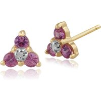 Classic Round Pink Sapphire & Diamond Cluster Stud Earrings in 9ct Yellow Gold