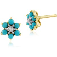 Floral Round Turquoise and Diamond Stud Earrings in 9ct Yellow Gold