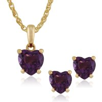 Classic Heart Amethyst Single Stone Love Heart Stud Earrings and pendant Set in 9ct Yellow Gold